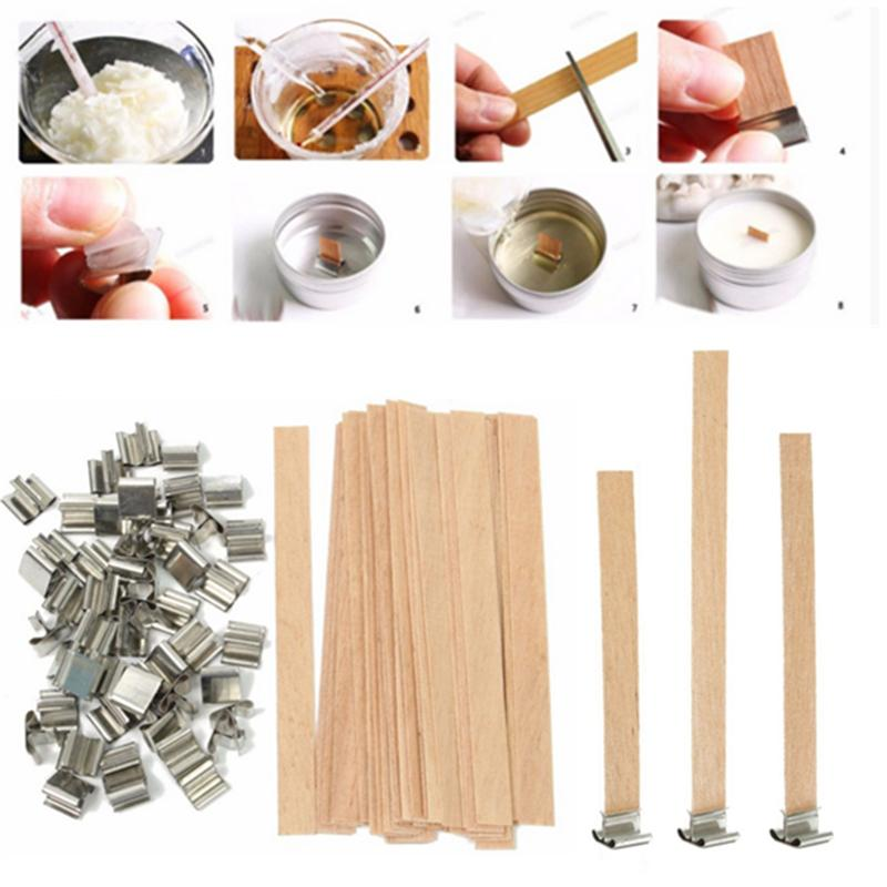 50Pcs Wooden Candles Wick With Sustainer Tab Candle Wick Core For Candle Making Supply Soy Parffin Wax 6mm 8mm 12.5mm 13mm