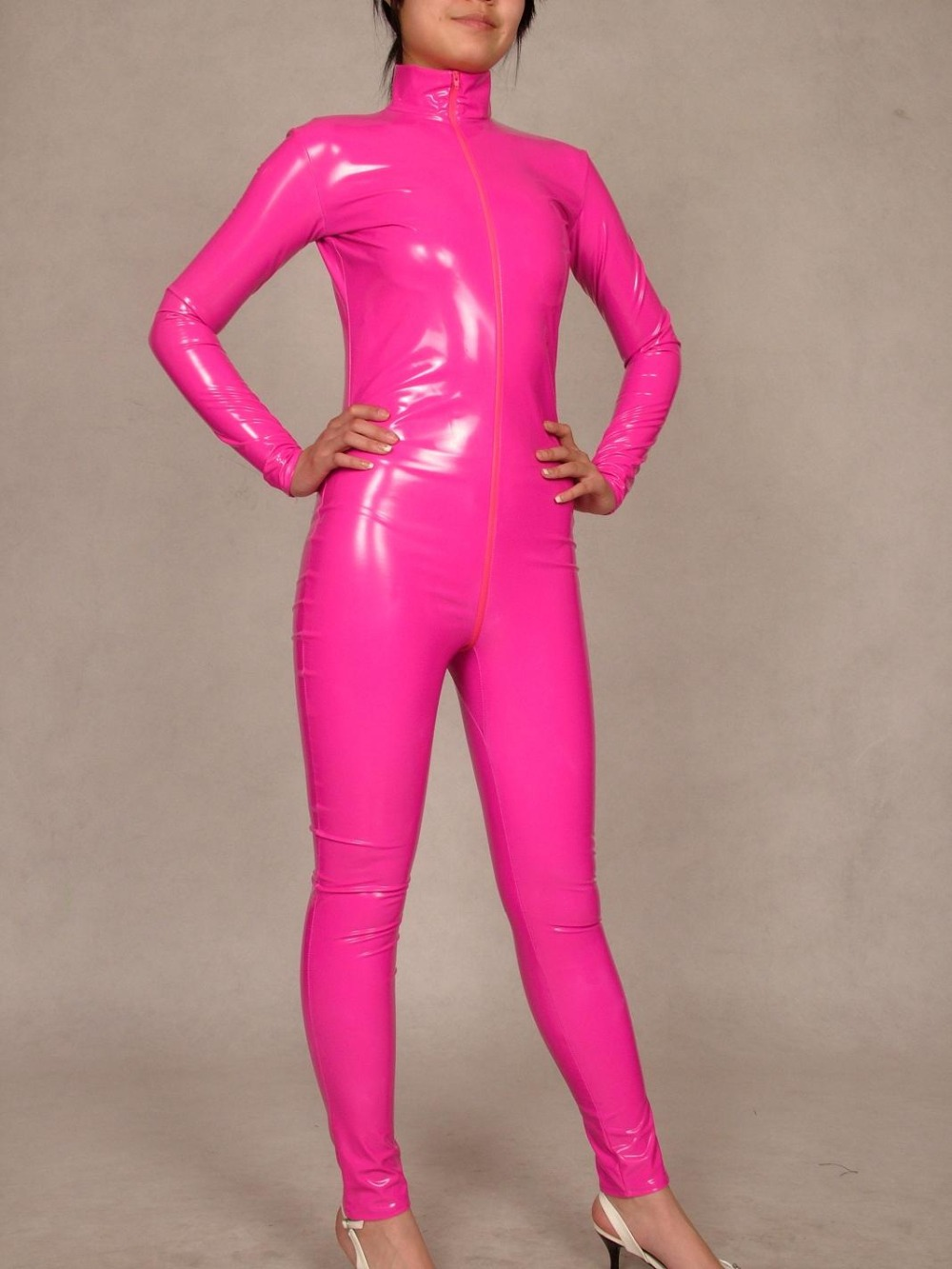 Online Shop Pink Pvc Bright Paint Leather Composite Coating Zentai Sexy Suit Full Body Tights Costumes Super Smooth Sexy Aliexpress Mobile