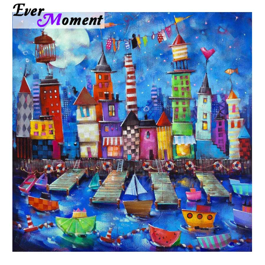 Ever Moment Diamond Painting Handmade Full Square Picture Of Rhinestone Building Boat Cross Stitch Diamond Embroidery 3F360