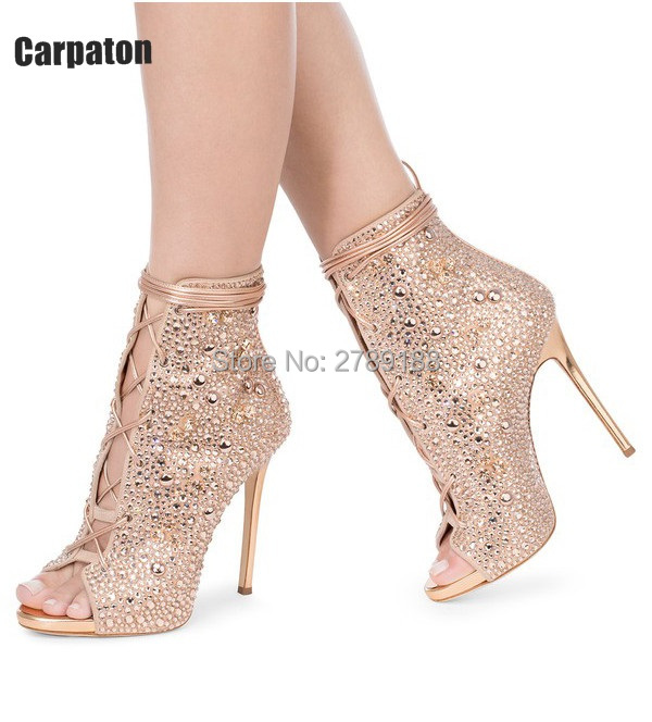 Hot Sale Women Peep Toe Stiletto Rhinestone Lady Party Dress High Heels Pumps Shoes Cut-outs Crystal Ankle Booties Sandal Boots hot sale white and black lace up women pumps cut outs peep toe high heels sandals fashion mixed colors summer ankle boots