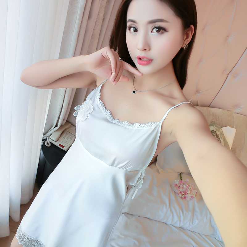 Women Sexy Silk Satin Night Dress Sleeveless Nighties V neck ... 1aa0e4e6b