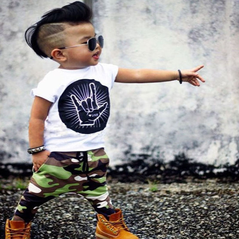 New Summer Baby Clothing Set 2 Pcs Suit Long Sleeve T-shirt Top+Camouflage Pants Cotton Children Clothes Bebe Costume new style summer baby boys girls clothes t shirt pants cotton suit children set kids clothing bebe next infant clothing