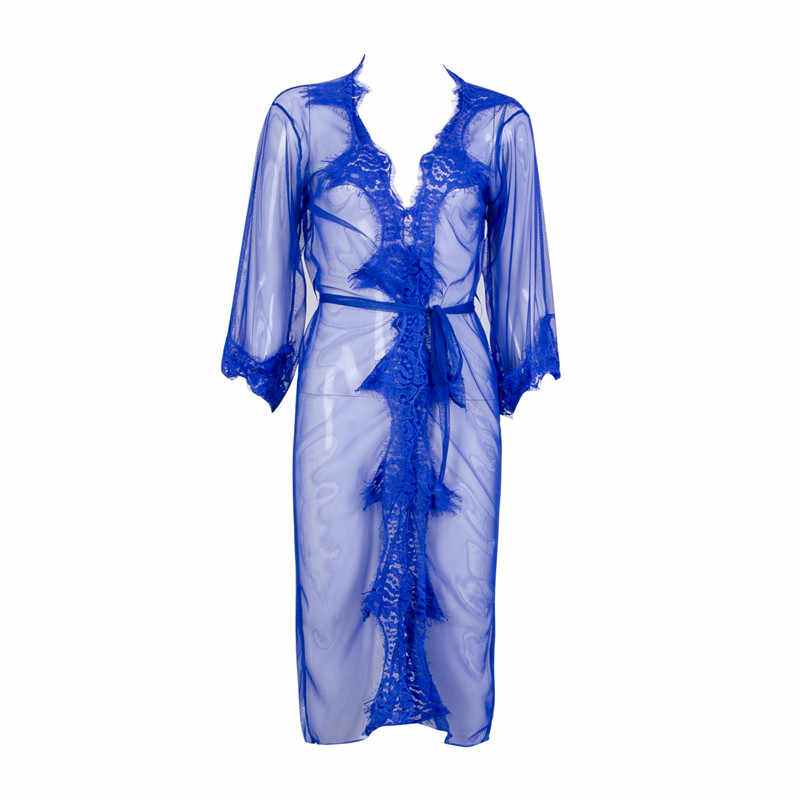 18eb13cb9 Sexy Sheer Babydoll Sleepwear Women Lace Night Dress Sexy See Through  Lingerie Long Bathrobe Ladies Nightgown