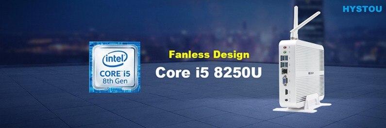 5Gen HYSTOU Fanless Mini PC Windows 10 Intel NUC Celeron