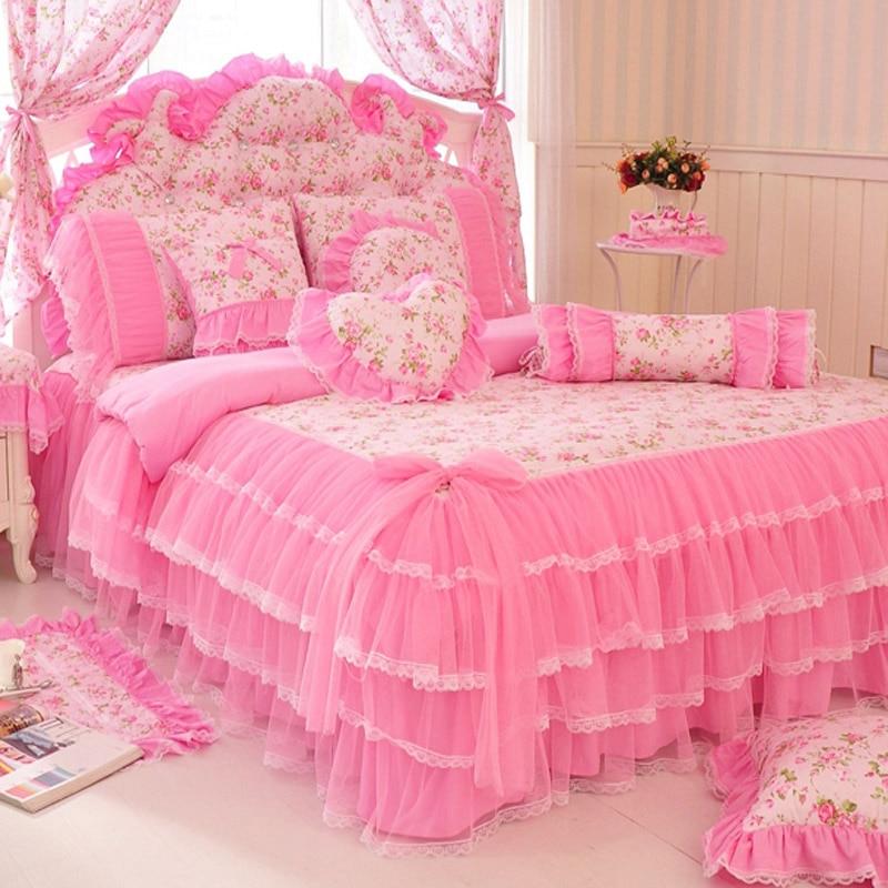 Korean Style Pink Lace Bedspread Bedding Set King Queen 4/6/8pcs Princess Duvet Cover Bed Skirts Bedclothes Cotton Home Textile
