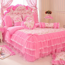 Korean Style Pink Lace Bedspread Bedding Set King Queen 4/6/8pcs Princess Duvet Cover Bed Skirts Bedclothes Cotton Home Textile