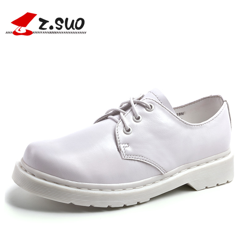 2018 NEW spring women genuine leather flats shoes Z.SUO brand Handmade oxfords for lady lace-up casual cow leather shoes women ege brand handmade genuine leather spring shoes lace up breathable men casual shoes new fashion designer red flat male shoes