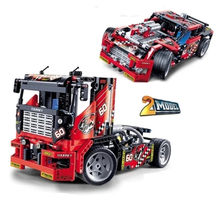 2 in 1 city Vehicle building blocks Compatible Legoinglys technic truck racing motorcycle car bricks sets children boys toys(China)