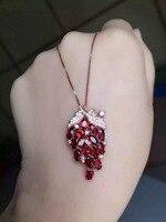 Natuurlijke rode granaat hanger S925 zilveren Natuurlijke edelsteen Hanger Ketting trendy Luxe druif string vrouwen fijne sieraden