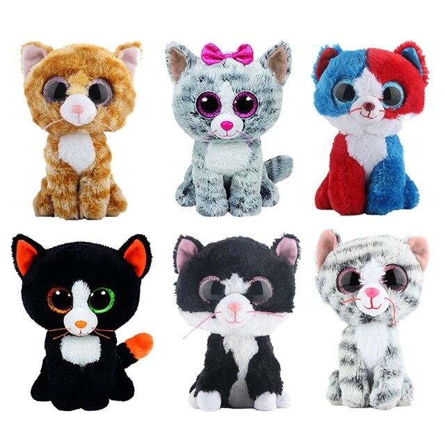 """Ty Vaias Gorro Stuffed & Plush Animais Gato Preto Boneca Brinquedos para Presente de Crianças Com Tag 6 """"15 cm"""