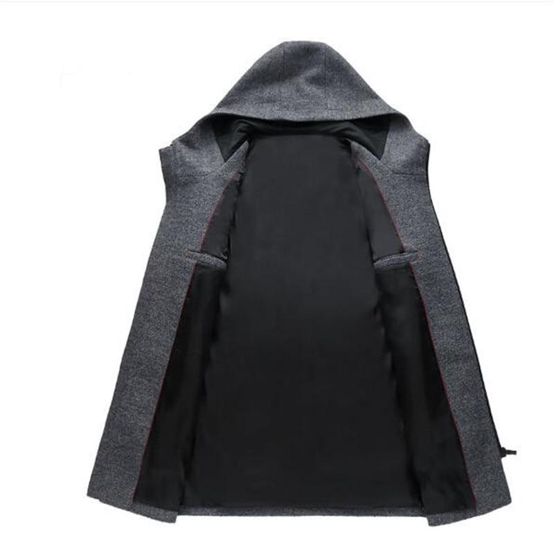Tang cool 2018 Men Hooded Wool Coat Fashion Zipper Pea Coat Jackets Slim Men Long Coats Winter Warm Hoodies Jacket