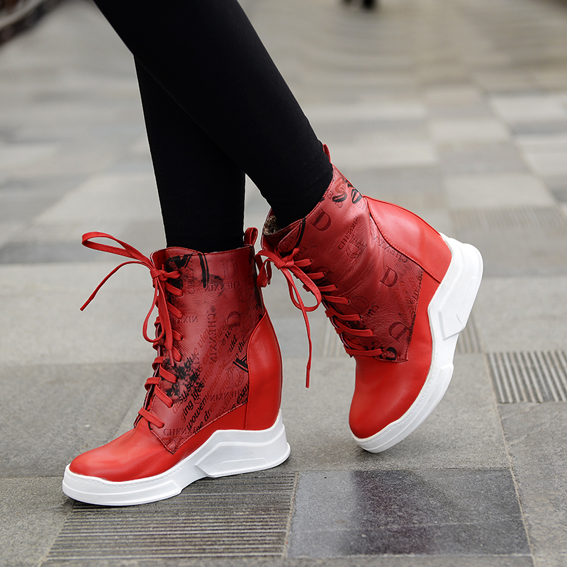 ФОТО New Stylish Women Ankle Boots Round Toe Height Increasing Boots High-quality Black White Red Orange Shoes Woman US Size 4-10.5