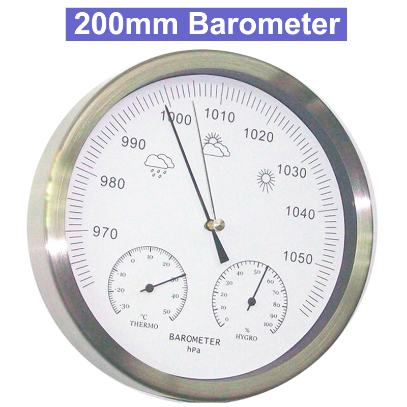 8 inch 200mm Large Screen Analog Barometer Thermometer Hygrometer Wall Hanging Temperature Humidity Monitor Atmospheric Pressure