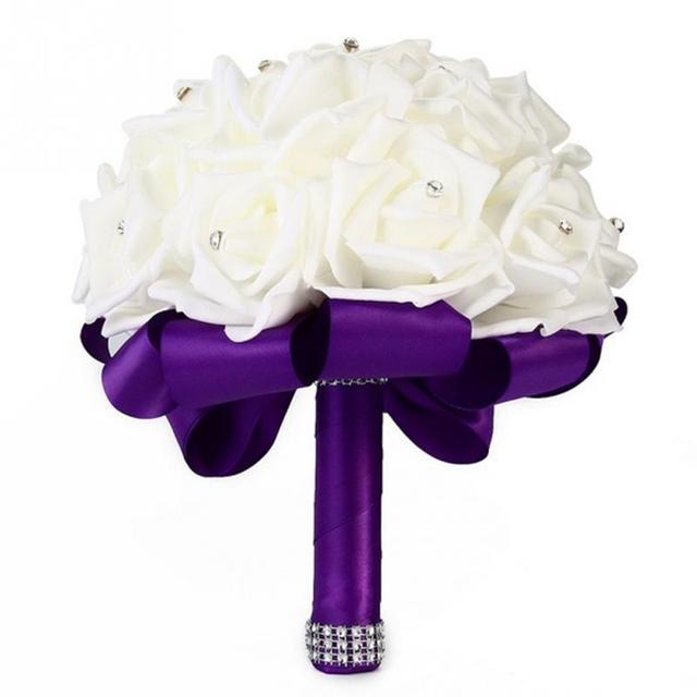 10 Colors Beautiful Bridesmaid Wedding Decoration Rose Bridal Bouquet White Satin Romantic Wedding bouquet Flowers Bride