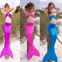 New Swimwear 3pcs Cute Children Kids Girls Gilding Mermaid Tail Princess Ariel Bikini Swimsuit Little Mermaid