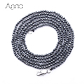 A&N Fashion Cut Hematite Necklace Black Hematite Beads Size 2mm Men Women Costume Jewelry Necklace Friendship Long Necklace 73cm