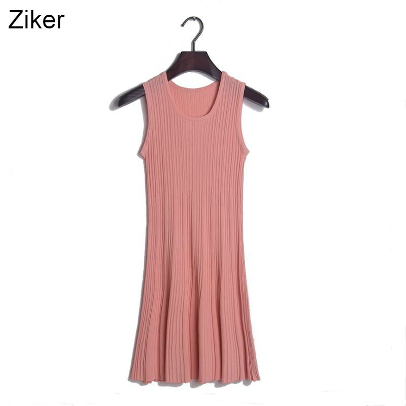 Ziker New 2017 Fashion Summer Knitted Dresses Women Solid Slim Sleeveless Vest Dress Knitting Casual A-Line Tank Dress