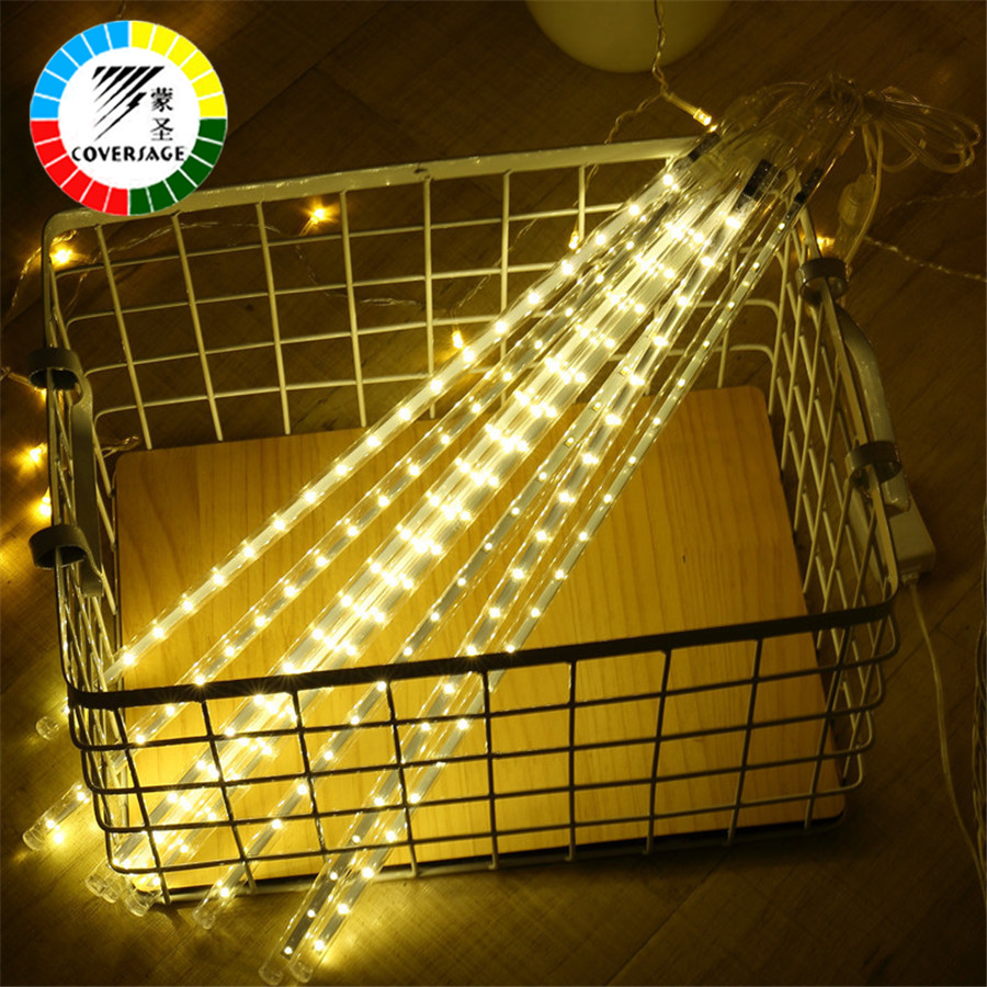 Coversage 30CM Led Meteor Shower Rain Tubes Waterproof Outdoor Decoration Curtain Garland Christmas Tree Guirlande Lumineuse snowy christmas tree pattern shower bath curtain