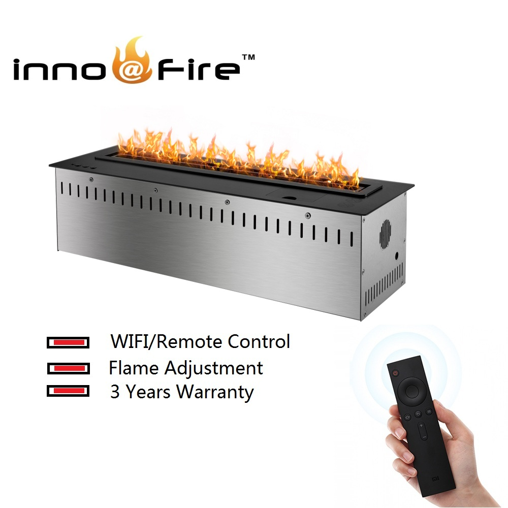 Inno-living 30 Inch Smart Remote Control Black Or Silver Wifi Intelligent Ethanol Fireplace Stove