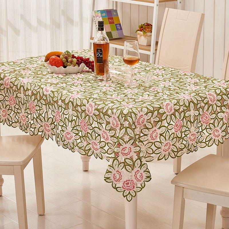 [ESPRIT] 130X175 cm Rectangulaire Nappes Nappe de Style Européen Pour Les Mariages Polyester Floral Brodé Table Tissu 1 PC