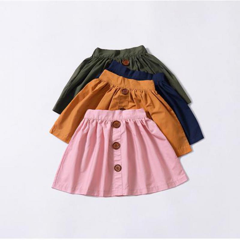 Falda De Algodón para Bebés y Niñas Estilo Casual Falda Unicolor de Botones Niña