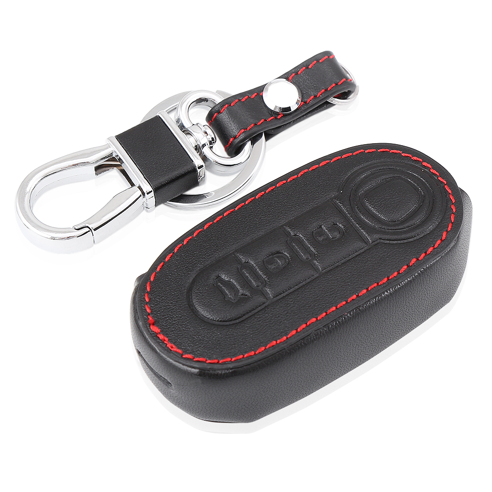 Leather Car Key Cover Case For Fiat 500 Panda Punto Bravo