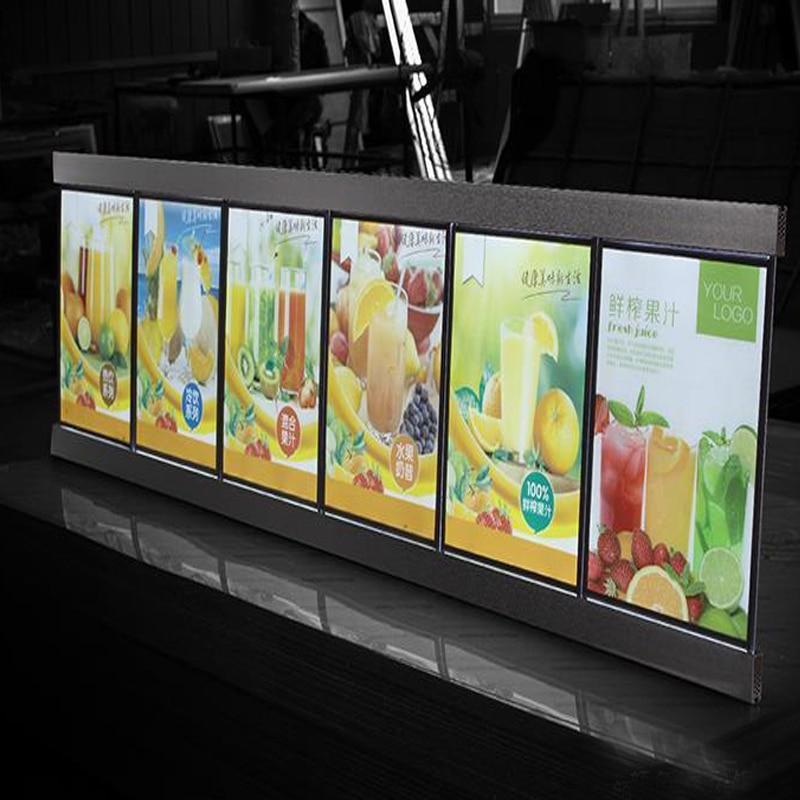 6 Graphics column Single Sided LED Restaurant Menu Boards Menu System Slim Lightbox for Hotel