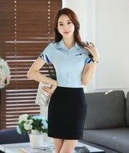 f74772d298 Moda verão Formais Ternos Das Mulheres de Negócios com 2 Peça Saia e  Conjuntos de Top Senhoras Blusa   Camisas de Trabalho Estil.