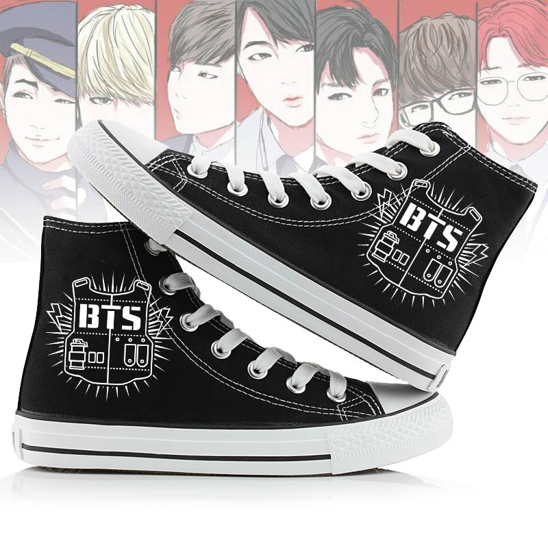 NOISYDESIGNS Kpop BTS Designs High Top Canvas Shoes Women Classic Lace-up  Vulcanize Shoes Womens Leisure ... 78cfac57534c