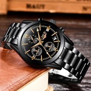 Image 4 - LIGE Mens Watches Top Brand Luxury Fashion Business Quartz Watch Men Sports Full Steel Waterproof Black Clock Relogio Masculino