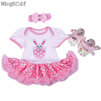 3PCS Newborn Tutu Dress Clothes Easter Rabbit Suits Baby Climbing Dress Bebes First Birthday Costumes Sets