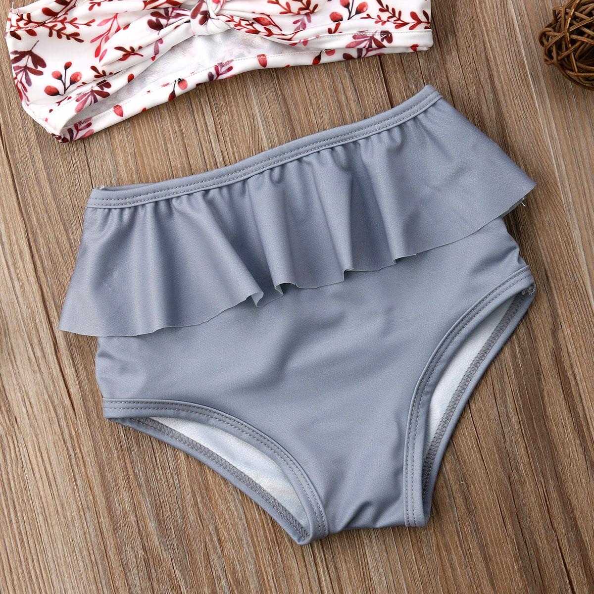 Лидер продаж, комплект из 2 предметов для маленьких девочек, Леопардовый цветочный принт, купальный костюм, бандаж, оборки, детский пляжный л... 24