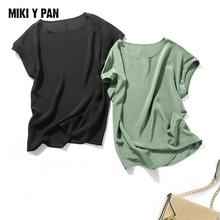 Luxury Real silk Women Tops O neck Short sleeved Pure T shirts Tee  T-shirt Japanese Shirt