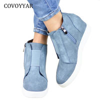 COVOYYAR 2018 Fashion Women Sneakers Spring Autumn Comfort Side Zip Designer Ankle Boots High Top Casual Shoes Big Sizes WSN682