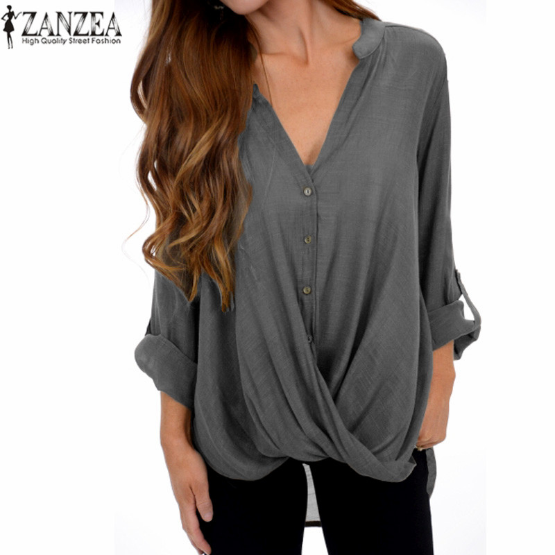 ZANZEA Blusas 5XL 2018 Women Summer Tops Elegant V Neck