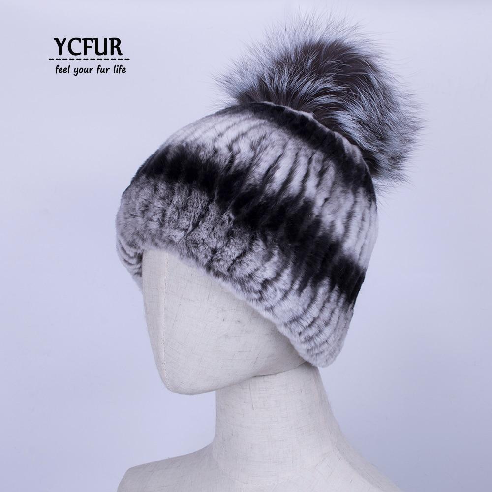 YCFUR Women Winter Warm Hats Caps Handmade Stripes Real Rex Rabbit Fur Hat Cap With Fox Fur Pom Hats Beanies Female