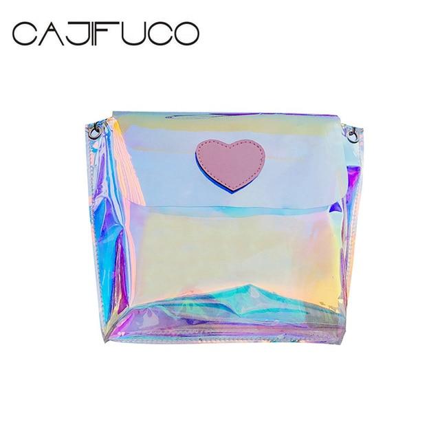 Cajifuco Women Multicolor Rainbow Bag Laser Clear Pvc Crossbody Bags Jelly Transpa Messenger Female Sac