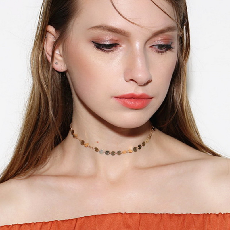 HTB1jsZ4RXXXXXbvXFXXq6xXFXXX7 Women's Copper Sequin Vintage Choker Necklace
