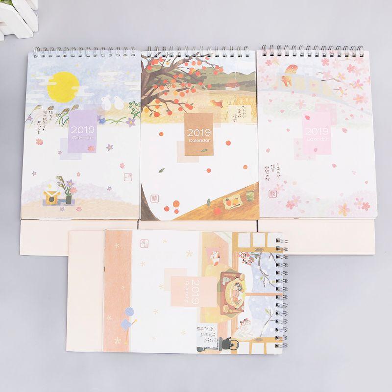 Calendar Calendars, Planners & Cards Japanese Style 2019 Coil Desktop Standing Calendar Memo Gift For Christmas Day New Year