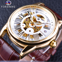 Forsining Official Exclusive Sale Brown Genuine Leather Roman Number Retro Design Men Watch Top Brand Automatic Wristwatch Clock