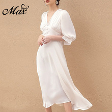 Max Spri 2019 Fashion Style Women Dress V-neck Button Lantern Sleeve High Waist Midi Dress