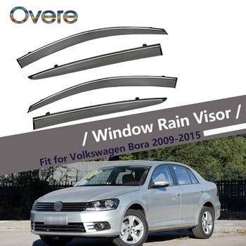 Overe 4Pcs/1Set Smoke Window Rain Visor For VW Bora Sedan 2009 2010 2011 2012 2013 2014 2015 ABS Awnings Shelters accessories