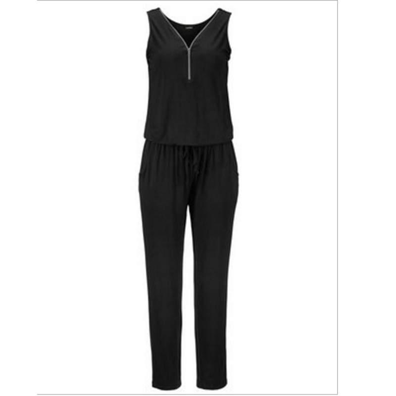 2018 Women Sleeveless Zipper Jumpsuit Summer Female  Sexy V Neck Lady Solid Rompers Loose Drawstring Long Jumpsuit Trousers S-XL