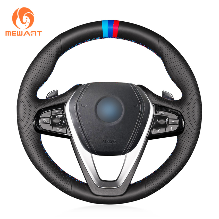 MEWANT Black Genuine Leather Car Steering Wheel Cover for BMW G30 530i 540i 520d 530e 2016-2018 G32 GT 630i 630d 2017-2018