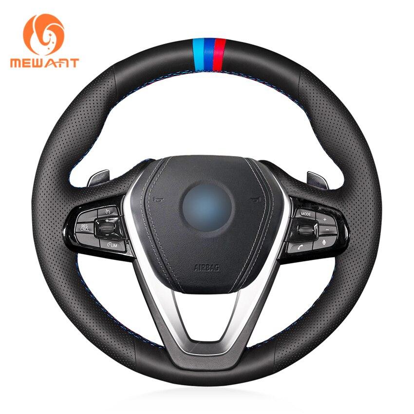 MEWANT Schwarz Echtes Leder Auto Lenkrad Abdeckung für BMW G30 530i 540i 520d 530e 2016-2018 G32 GT 630i 630d 2017-2018