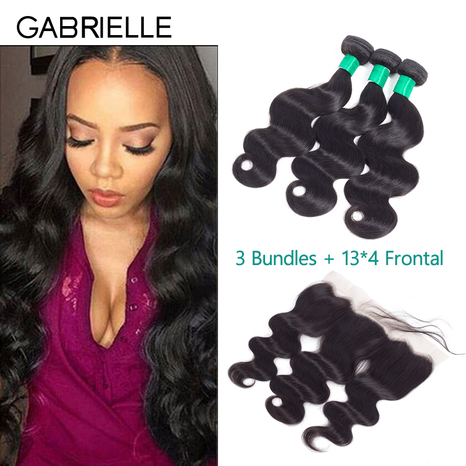 Gabrielle Peruvian Body Wave Hair Bundles with Lace Frontal Free/Middle/Three Part Natural Black Human Hair Weaves Free Shipping