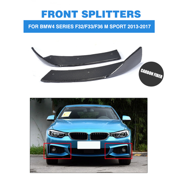 1Pair Carbon Fiber Front Bumper Splitters Lip Flaps Cupwings for BMW 4 Series F32 435i M Sport Coupe 2-Door 2013-2017 image