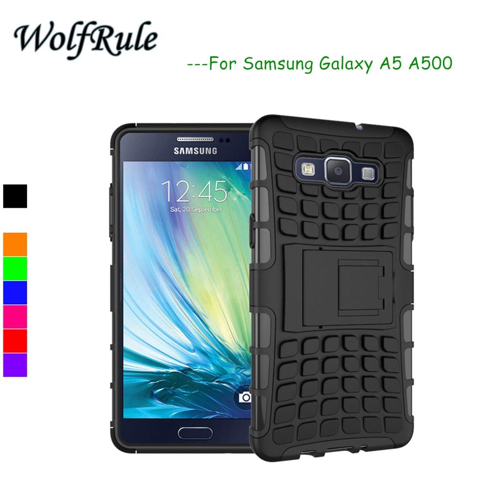 WolfRule sFor Samsung Galaxy A5 Kasus Shockproof Silicone + Plastik kasus Untuk Samsung Galaxy A5 penutup Untuk Samsung A5 A500 2015 Tas