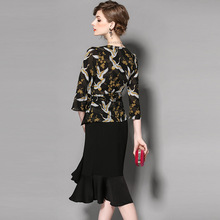 2017 Elegant 2 Pieces Women Spring Summer Slim Dress Set V Neck Printed Three Quarter Sleeve Sashes Tops Irregular Skirt OL Suit