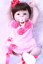 цена на 22 Inch Doll Reborn Full silicone Vinyl Babies For Girls Soft Baby Doll bonecas reborn